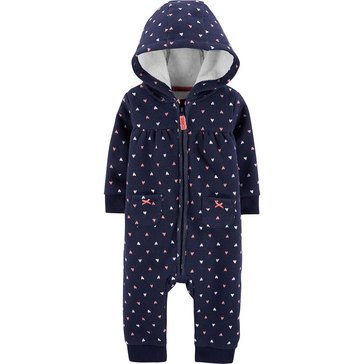 Carter's Baby Girls' 1-Piece Hearts Hooded Microfleece Jumpsuit