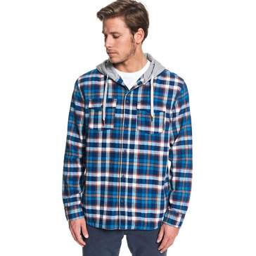 Quiksilver Men's Snap Up Hooded Plaid Flannel Shirt