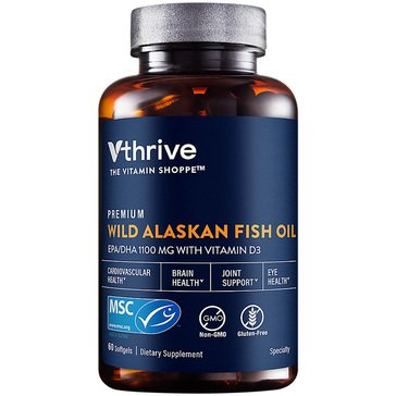Vthrive Premium Wild Alaskan Fish Oil with Vitamin D3 DHA 275 MG/825 MG EPA 60 Softgels