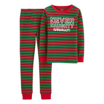 Carter's Little Boy's 2-Piece Red and Green Holiday Stripe Sleepwear