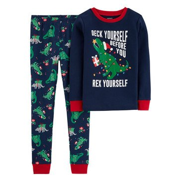 Carter's Little Boy's 2-Piece Christmas Lights Dino Sleepwear