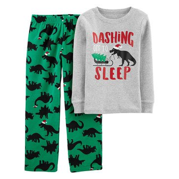 Carter's Little Boy's Dinos with Santa Hats Sleepwear