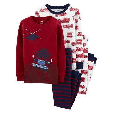 Carter's Little Boy's 4-Piece Firetruck Sleepwear
