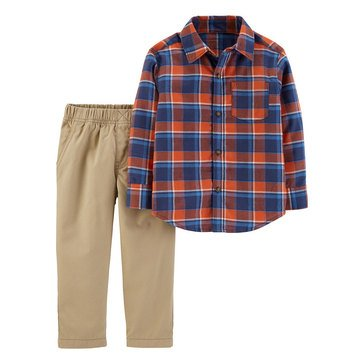 Carter's Toddler Boys' Red & Blue Plaid Button-down Set