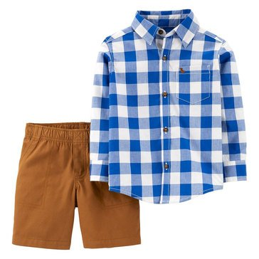 Carter's Toddler Boys' Blue Plaid Button-down Set