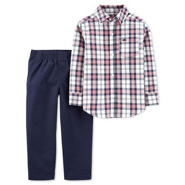 Carter's Toddler Boy's Pink Plaid Button-down Set