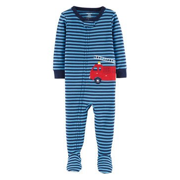 Carter's Toddler Boy's Blue Striped Fire Truck Cotton Sleepwear