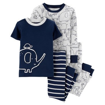 Carter's Toddler Boy's 4-Piece Elephant Cotton Sleepwear