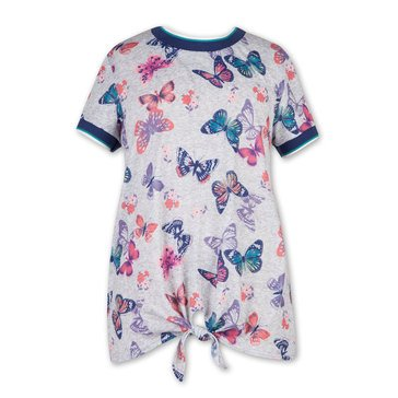 Speechless Big Girls' Front Knit Butterfly Print Tee