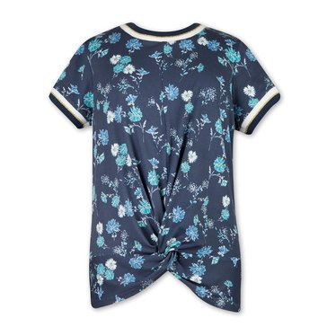 Speechless Big Girls' Front Knit Floral Print Tee