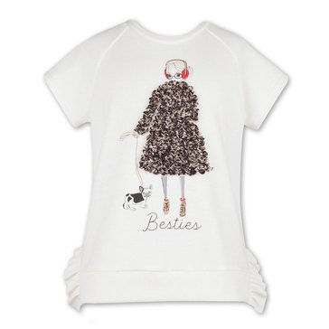 Speechless Big Girls' Besties Girl Dog Ruffles Detail Top