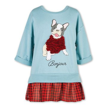 Speechless Big Girls' Faux Plaid Layer Bonjour Puppy in Sweater Top