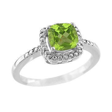 Peridot and Diamond Ring, Sterling Silver