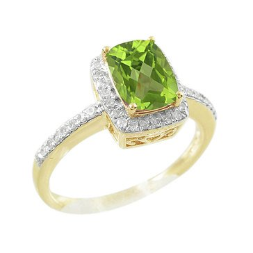 Peridot and White Topaz Ring, 10K
