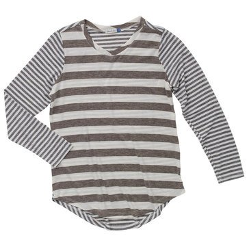 Yarn & Sea Big Girls' Stripe Vneck Tee