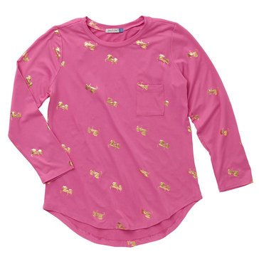 Yarn & Sea Big Girls' Foil Print Crewneck Tee