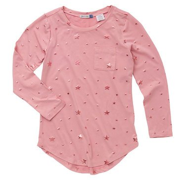 Yarn & Sea Big Girls' Foil Stars Crewneck Tee