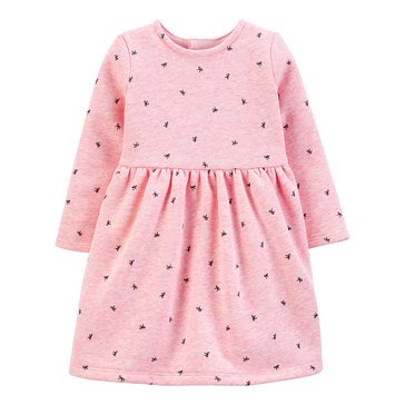 Carter's Baby Girls' Bow Printed Fleece Holiday Dress