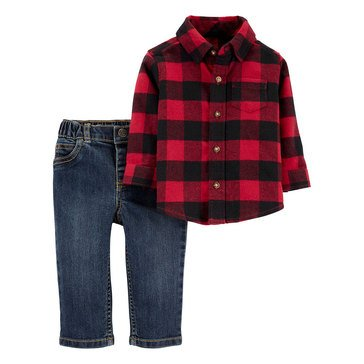 Carter's Baby Boys' 2-Piece Buffalo Flannel Denim Set