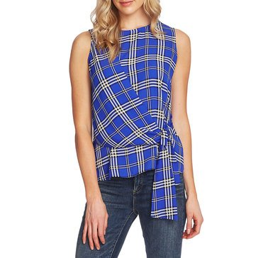 Vince Camuto Women's Plaid Tie Front Blouse