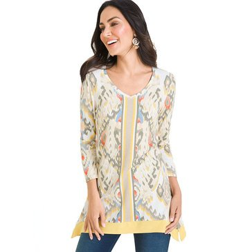 Chico's Women's Zenergy Ikat Border Tunic