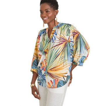 Chico's Women's Palm Printed Popover Top
