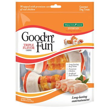 Good 'n' Fun Pork, Beef & Chicken Chew 3-Pack Bones for Dogs