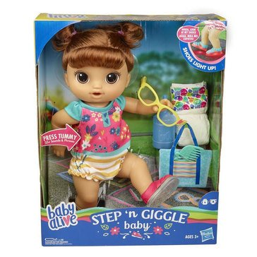 Baby Alive Step N Giggles Brown Haired Baby Doll