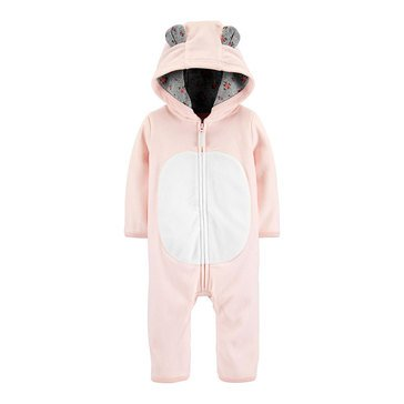 Carter's Baby Girls' Bear Hooded Microfleece Jumpsuit