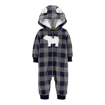 Carter's Baby Boys' Checker Bear Hooded Microfleece Jumpsuit