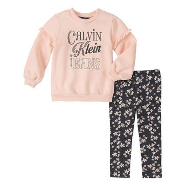 Calvin Klein Baby Girls' Fleece Top Printed Leggings Set