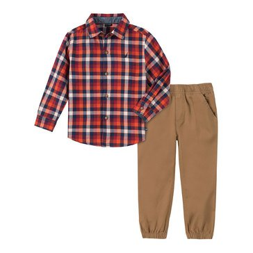 Nautica Baby Boys' Plaid Top Twill Bottom Set
