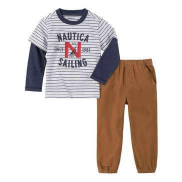 Nautica Baby Boys' Striped 2Fer Top Will Bottom Set