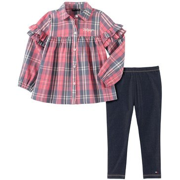 Tommy Hilfiger Baby Girls' Plaid Tunic Faux Denim Leggings Set