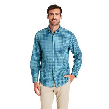 Vineyard Vines Mens Long Sleeve Raglan Classic Tucker Color on Color Gingham Red Earth