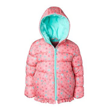Wippette Baby Girls' Printed Star Puffer Coat