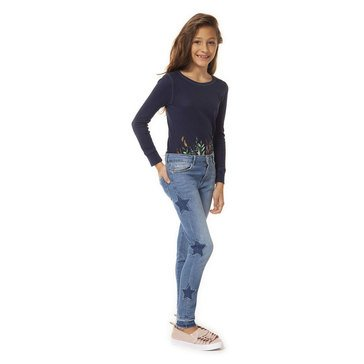 Dex Big Girl's Five Pocket Pull On Jeans With Star Detail