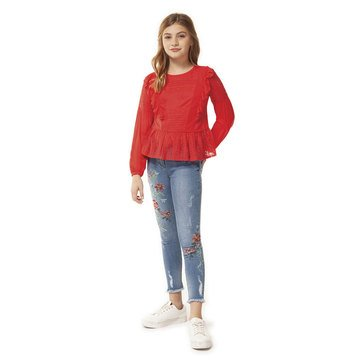 Dex Big Girl's Scoop Neck Ruffle Lace Top