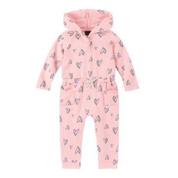 Calvin Klein Baby Girls' Hearts Baby French Terry Coverall