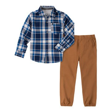 Calvin Klein Baby Boys' Plaid Broadcloth 2-Piece Woven Shirt Set