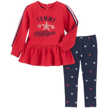 Tommy Hilfiger Baby Girls' Fleece Tunic Jersey + Foil Legging Set