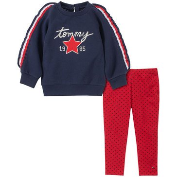 Tommy Hilfiger Baby Girls' Ruffle Sleeve Tunic + Printed Jersey Legging Set