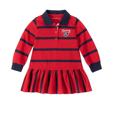 Tommy Hilfiger Baby Girls' Ruffle Dropped Hem Striped Dress