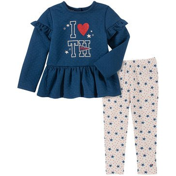 Tommy Hilfiger Baby Girls' Pointelle Double Knit Tunic + Star Print Legging Set