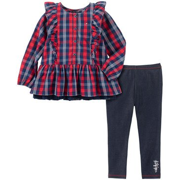 Tommy Hilfiger Baby Girls' Plaid Knit Mesh Tunic + Solid Twill Knit Legging Set