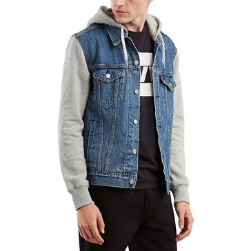 Levi's Men's Denim Fleece Hoodie Trucker Jacket