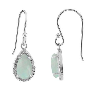 Created Opal and Diamond Earrings, Sterling Silver