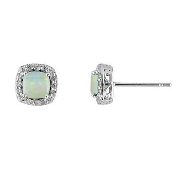 Created Opal and White Topaz Earrings, Sterling Silver