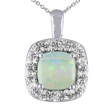Created Opal and White Topaz Pendant, Sterling Silver