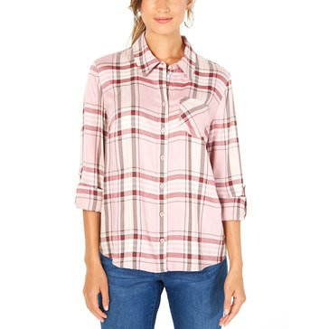 Style And Co Womens Cavern Plaid One Pocket Shirt